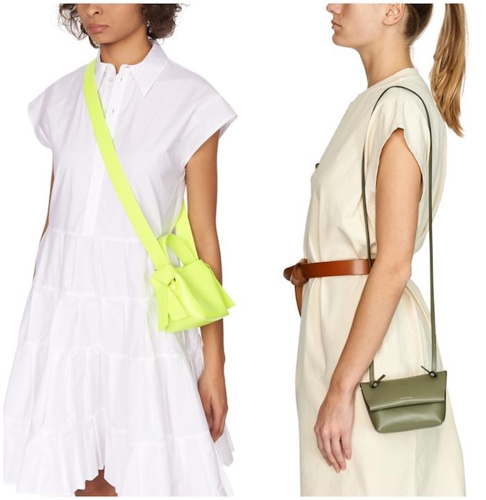 mini taschen in grün und neon grün und leuchtgeln weißes und beiges kleid