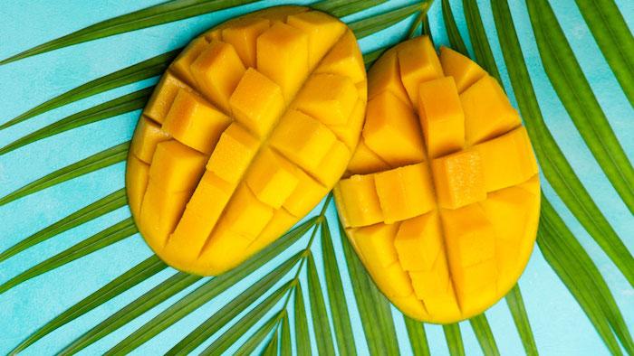 palmblatt zwei orange mango igel selber machen mango schneiden anleitung