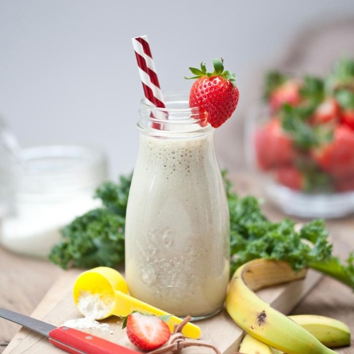 protein shake abnehmen eiweißshake mit erdbeeren und bananen proteinshake rezepte bestes proteinpulver