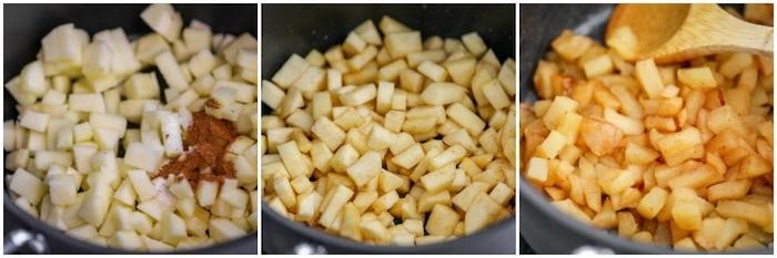 rezept für apfelmus mit einem stück zimt äpfel in würfel schneiden und mit zimt vermischen diy anleitung