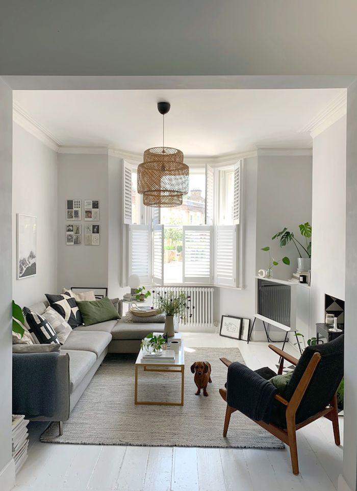 scandi sofa in grau mit grünen und blauen kissen gemütliche einrichtung wohnzimmer scandi style holzstuhl mit grüner polsterung kleiner dackel scandi teppich