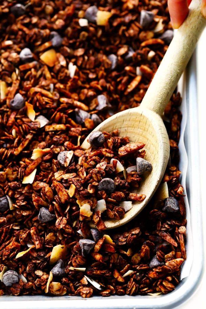 schokomüsli selber machen die ebsten müsli rezepte granola mit schokolade schokoladenchips