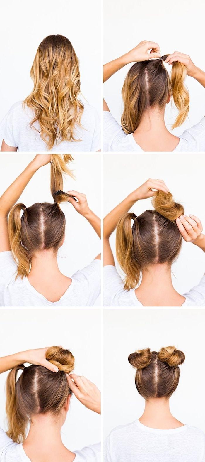 schritt für schritt anleitung dutt machen diy anleitungen zwei haarknoten selber machen frau mit blonden haaren dutt frisuren dünnes haar