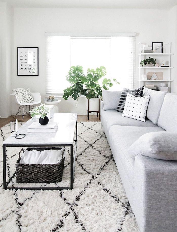 schwarz weißer teppich minimalistische innenausttatung großer sofa in grau skandinavische einrichtung wohnzimmer modern deko grüne pflanze