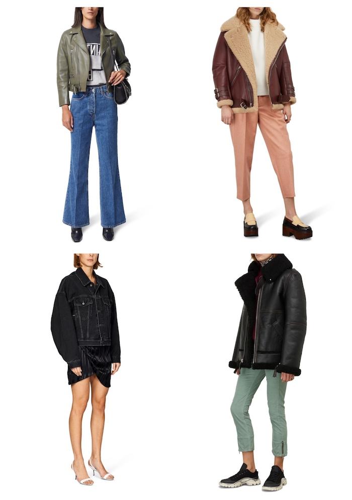 style outfit inspiration acne studios jacke klassisch schwarze jeansjacke lederjacke in burgundenrot grün und schwarz