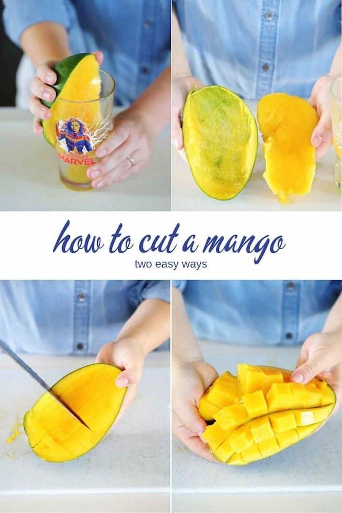 zwei methodemn wie man eine mango schneiden kann mithilfe eines glases und mit einem messer