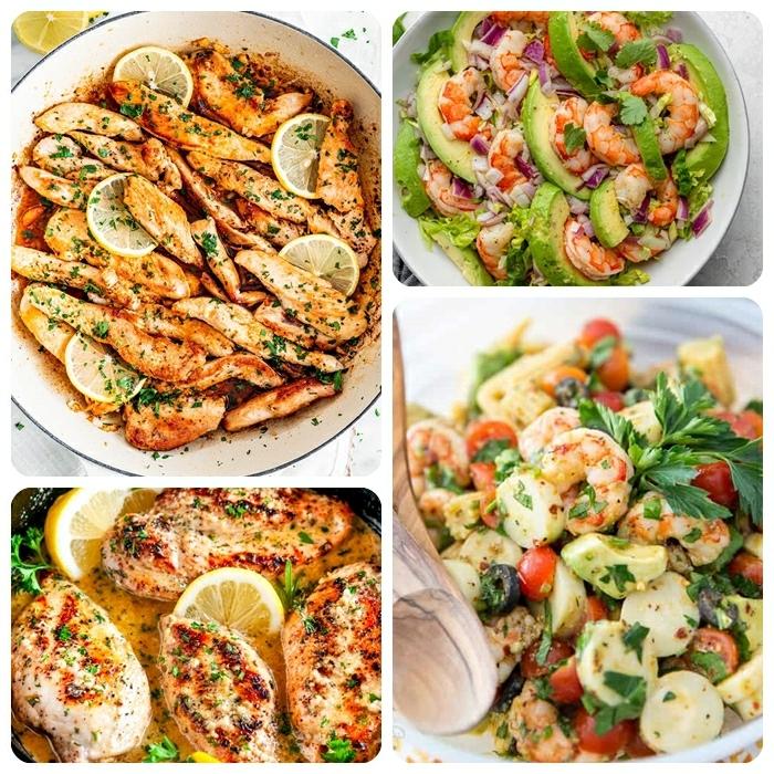 0 abendessen ideen schnelle und einfache rezepte für jeden tag salat mit garnellen hänchenfleisch mit zitronen low carb