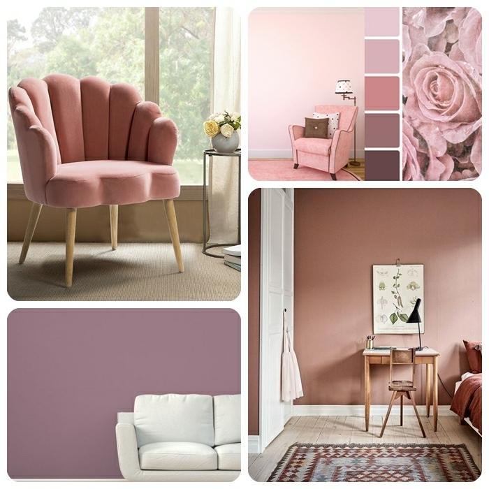 0 farbe mauve beippiele trendige einrichtungsfarben wohnung einrichten farbtöne lila wand designer sessel