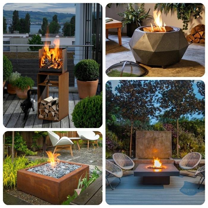 4 inspirationen dekoration für den garten feuerstelle trenige modelle hintergarten dekorieren