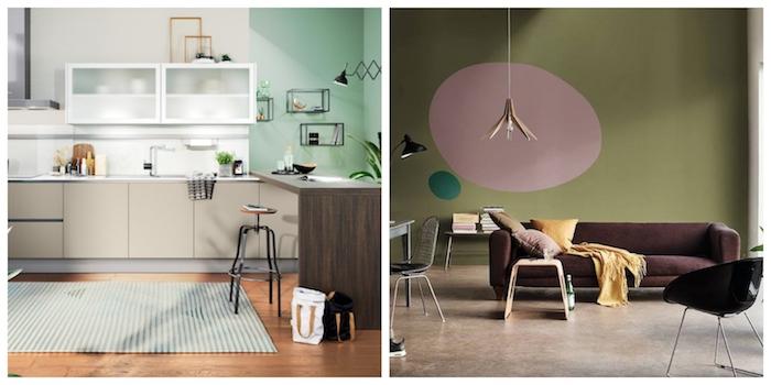 collage wandfarbe wählen küche und wohnzimmer in grüntöne streichen hell oder olivengrün