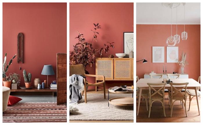 collage wandfarbe wählen wände streichen ideen wohnzimmer terrakotta farben