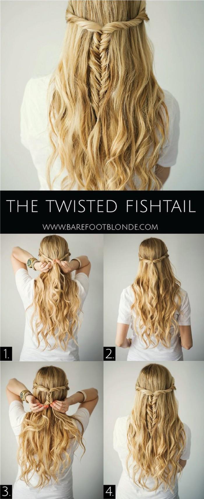 diy anleitung schritt für schritt brautfrisuren halboffeon fischgretänzopf flechten lange blonde haare mit wellen
