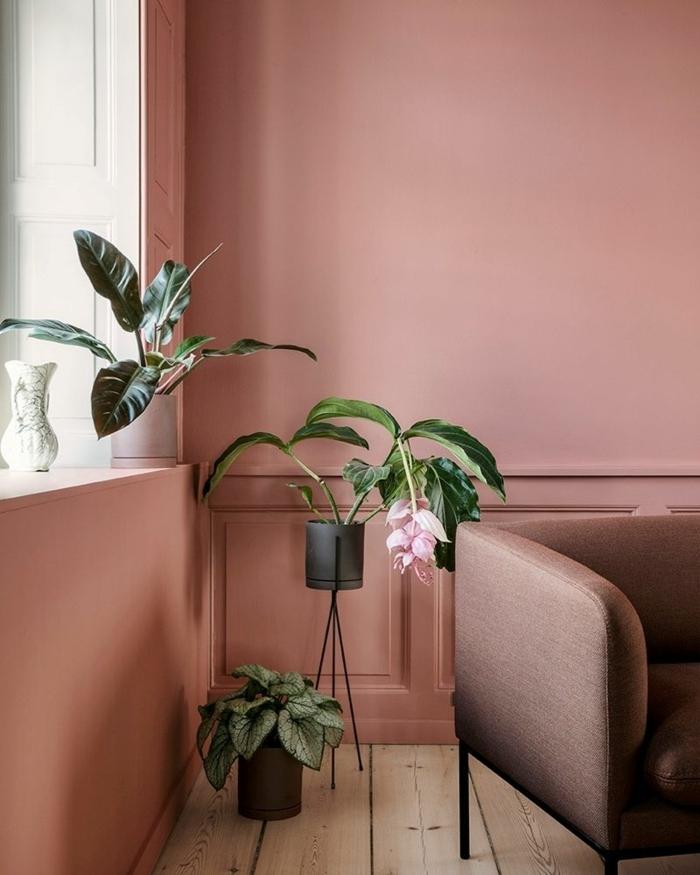 farbe malve beispiele wandfarben ideen moderne wohnzimmerfarben wohnzimmerdeko grüne pflanzen
