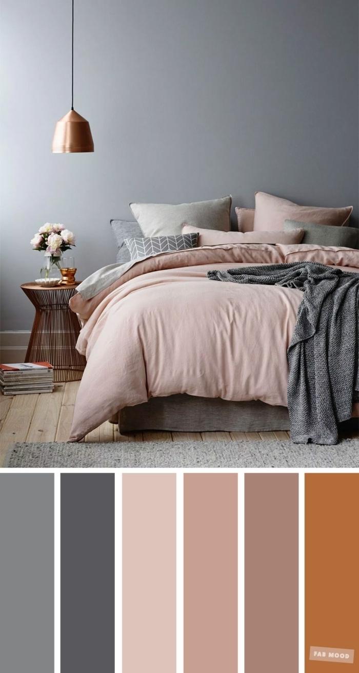 farbe malve passende töne schlafzimmer gestalten graue wände hellrosa bettwäsche