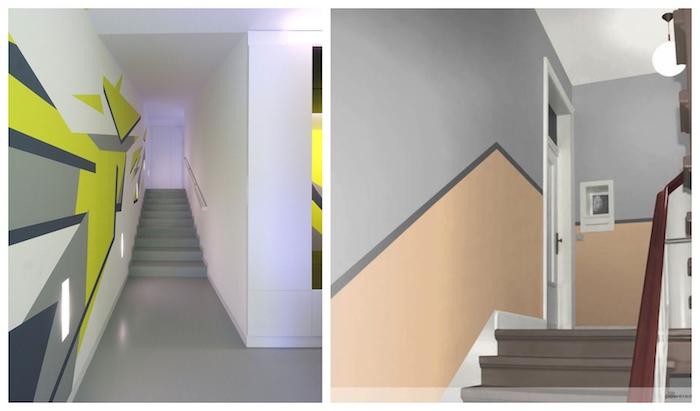 farben treppenhaus beispiele asymetrische streifen farbideen