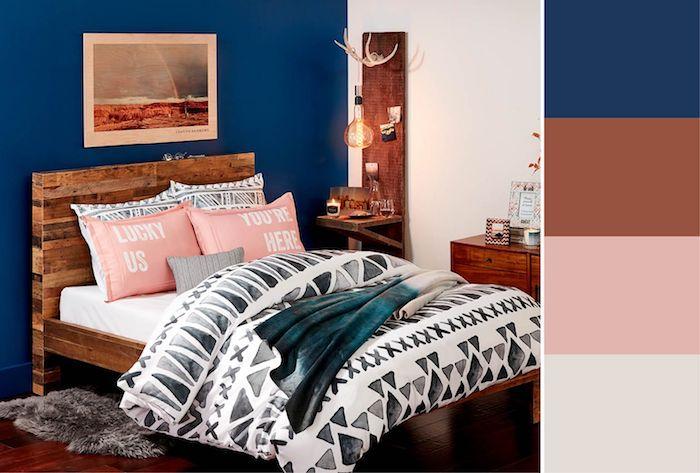 farbpalette wände streichen schön wohnen ideen marineblau terrakotta rosa