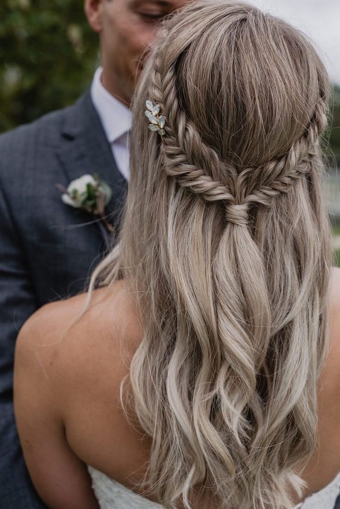 flechtfrisuren lange haare blond mit strähnen brautfrisur halboffen hochzeit inspiration und ideen lange haare frisur