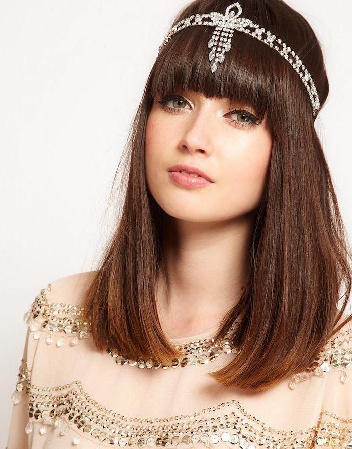 frisur für mittellange haare braune haare mit silberem haarbandjpg