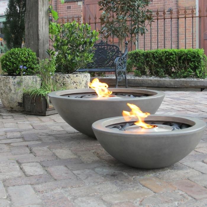 garten deko ideen außenbereich beispiele gartedeko runde feuerstellen aus beton