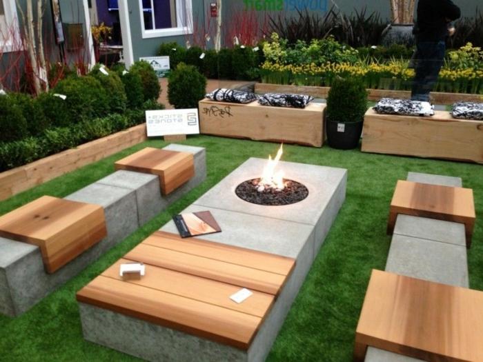 gartengestaltung kleine gärten moderne sitzbänke aus hozl und beton feuerstelle im hintergarten moderner außenbereich