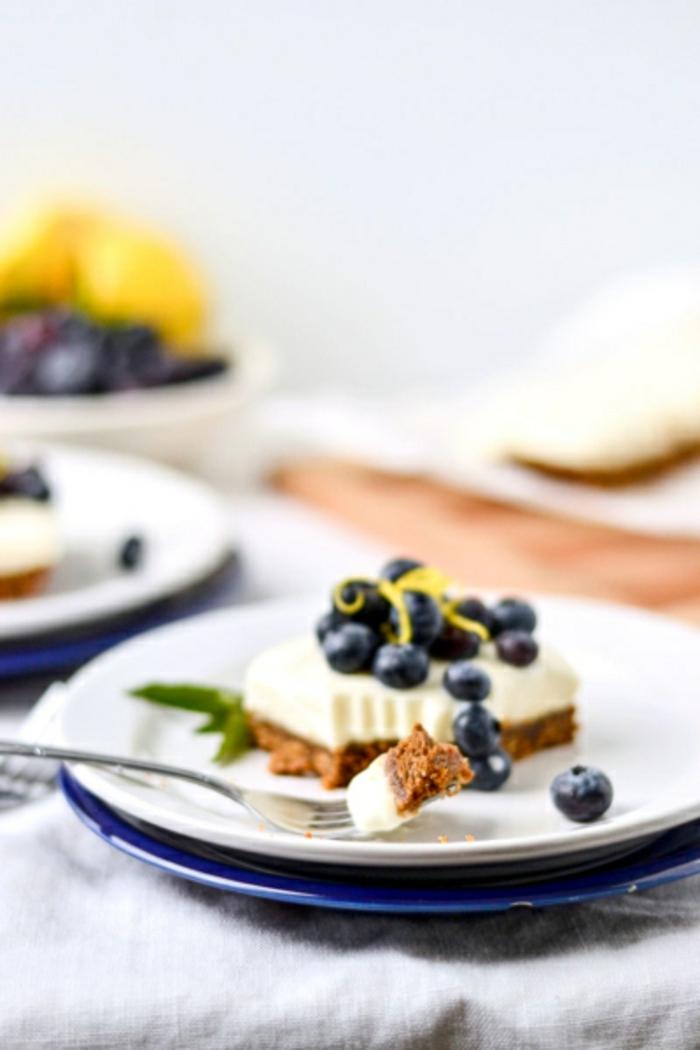kuchen ohne mehl und zucker frischkäsekuchen mit joghurt und blaubeeren cheesecake rezept käsekuchen