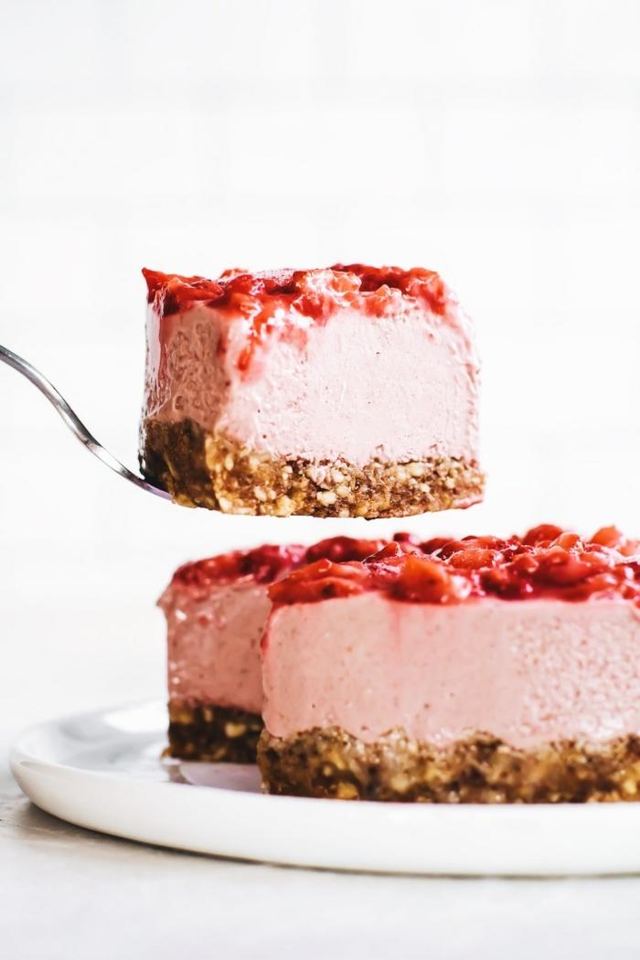 kuchen ohne zucker cheesecake mit erdbeeren und nussboden käsekuchen ohne mehl brunch rezepte einfach