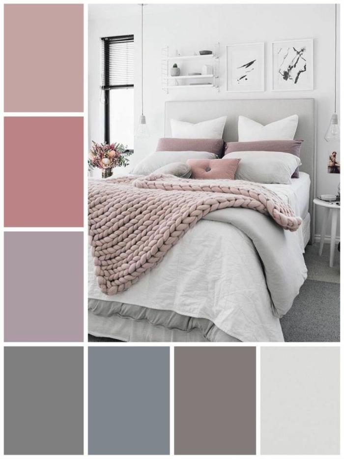 malve farbe mauve taupe schlafzimmer einrichten und dekorieren weiße wände mauve akzente palette