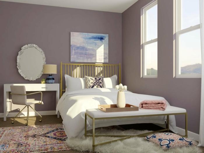 mauve wandfarbe wände streichen schlafzimmer moderne farbpalette jugendzimmer mädchenzimmer einrichtungsideen