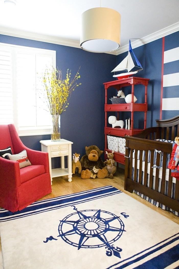 naval blau farbpalette wandfarbe babyzimmer marineblau hellbeige streichen