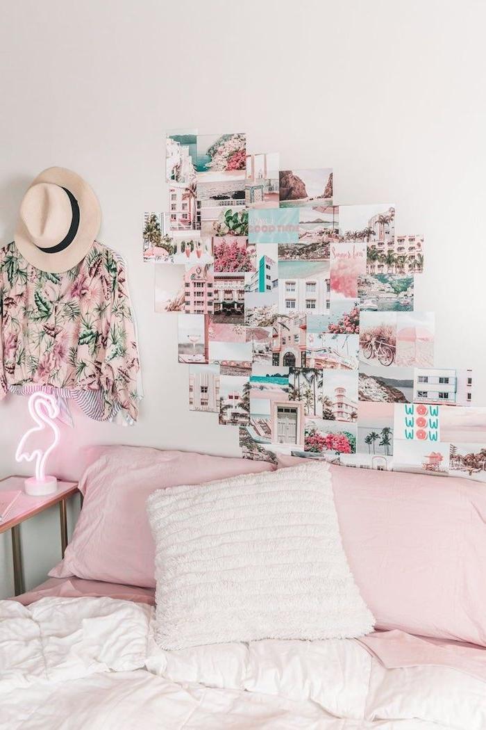 pink rosa ästhetik schlafzimmer flamingo lampe wandgestaltung jugendzimmer mädchen wand mit collage florales hemd