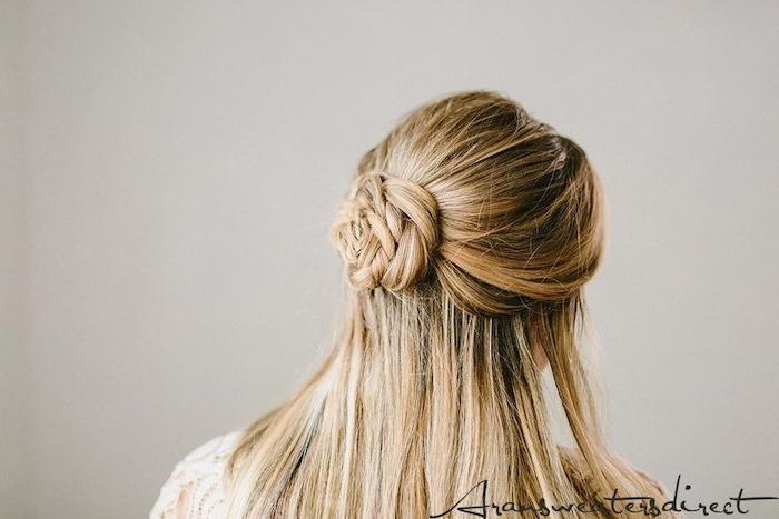 rosendutt diy anleitung schritt für schritt lange blonde haare frisur brautfrisur offen inspiration halb hoch halb unten hochzeitsfrisuren inspiration