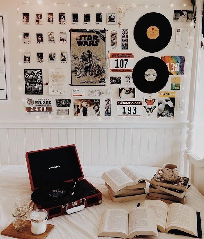 schallplatten als dekoration an die wand fotowand mit fotos und poster tumblr zimmer ideen inneneinrichtung modernes teenager schlafzimmer coole deko artikel