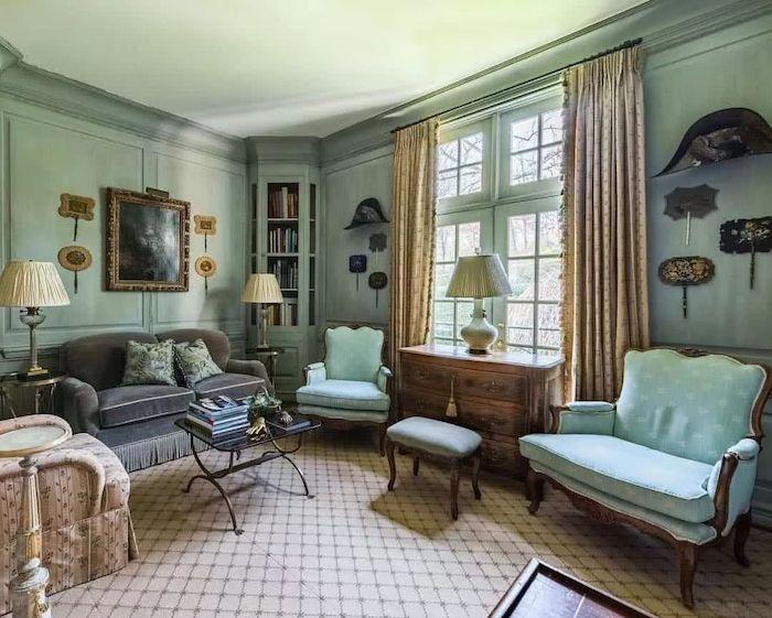 schöner wohnen farbpalette minzgrün retro design beige deko wohnzimmer