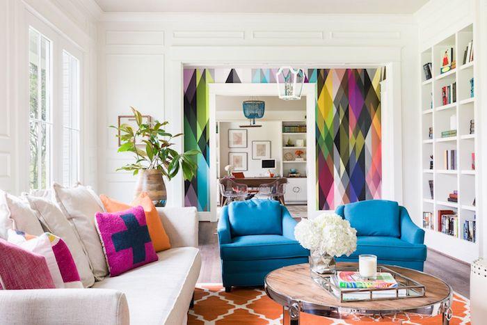 schöner wohnen farbpalette wände streichen in weiß möbel knallige farben. bunte tappetten