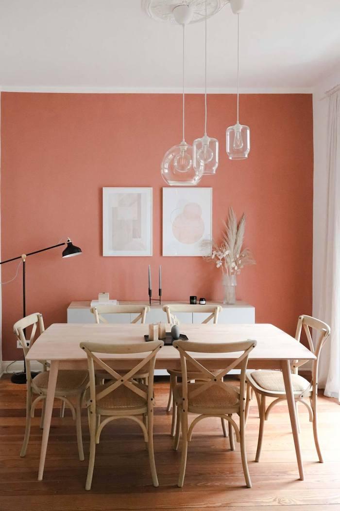 schöner wohnen wandfarbe wohnzimmer streichen terrakotta farbe mit möbeln in beige