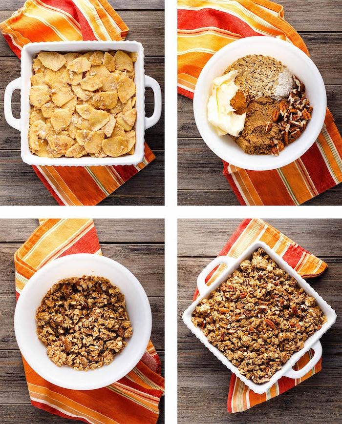schritt für schritt anleitung für ein apple crumble rezept eine schüssel mit apple crumble rezept zimt brauner zucker müsli
