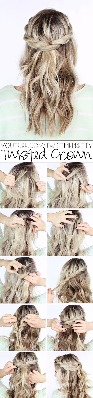 schritt für schritt anleitung hochzeit flechtfrisur diy frisur mit locken blonde haare mit strähnen hochzeitsfrisuren offen selber machen leicht