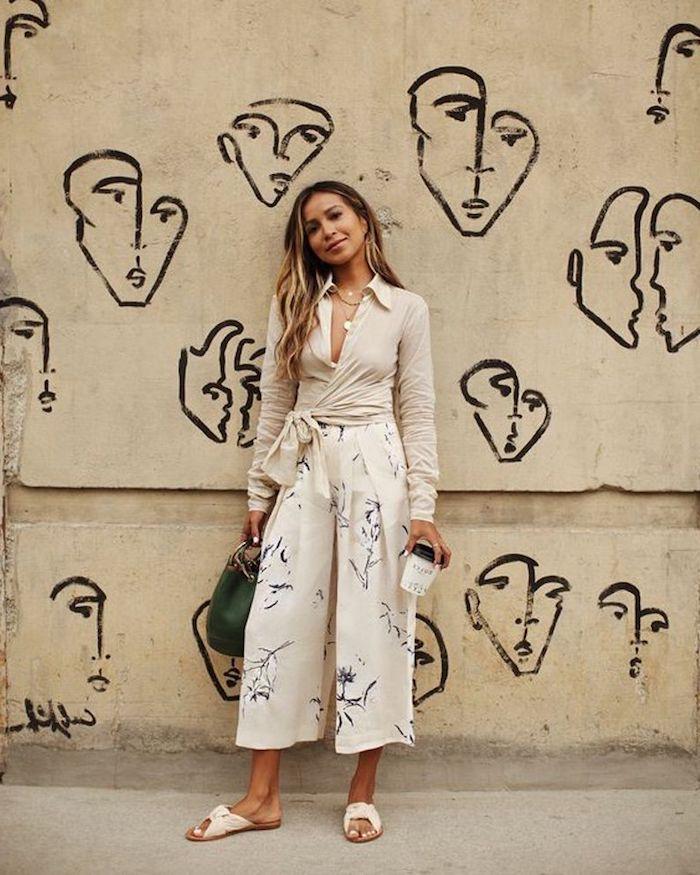 street style inspiration sincerely jules julie sirinana monochromes outfit beige sommer style inspiration culottes für welche figur beige hose kombinieren lange blonde haare