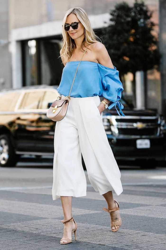 stylish jackson steet style inspiration beige high heels weiße culottes für welche figur mini tasche elegante blaue bluse collot hose
