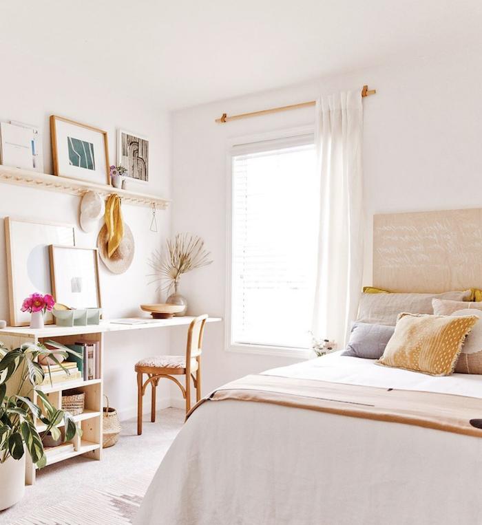 teenager mädchen schlafzimmer angesagt einrichten helle farbtöne kleine räume geschickt einrichten grüne pflanze deko