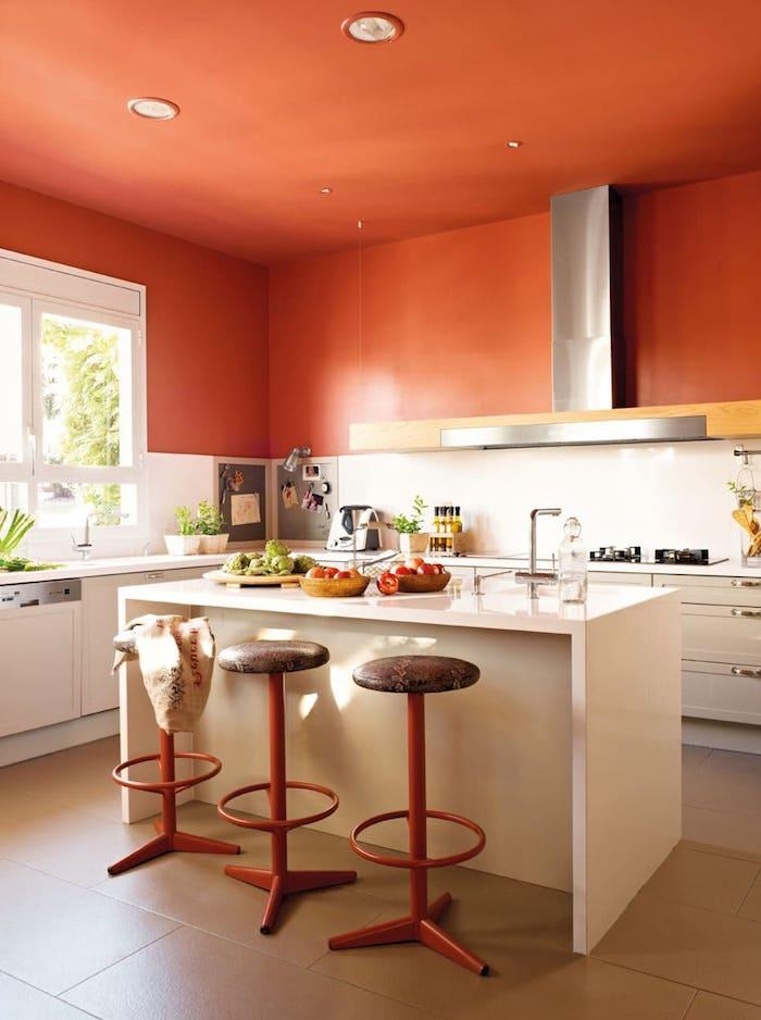 terrakotta wände streichen küche wand streichen muster