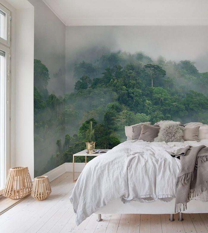urban jungle wandfarben wände streichen diy wanddeko schlafzimmer streichen ideen grüne pflanzen wanddeko
