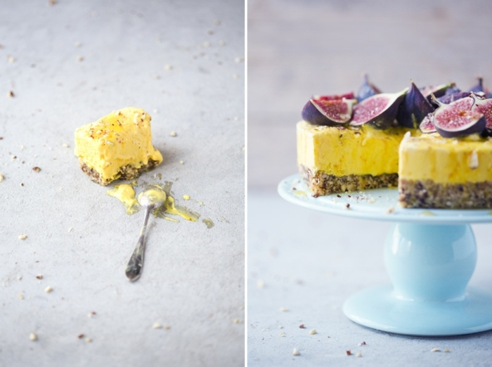 veganer kuchen ohne zucker zuckerfreier cheesecake mit feigen und joghurt käsekuchen mit bohden ohne mehl