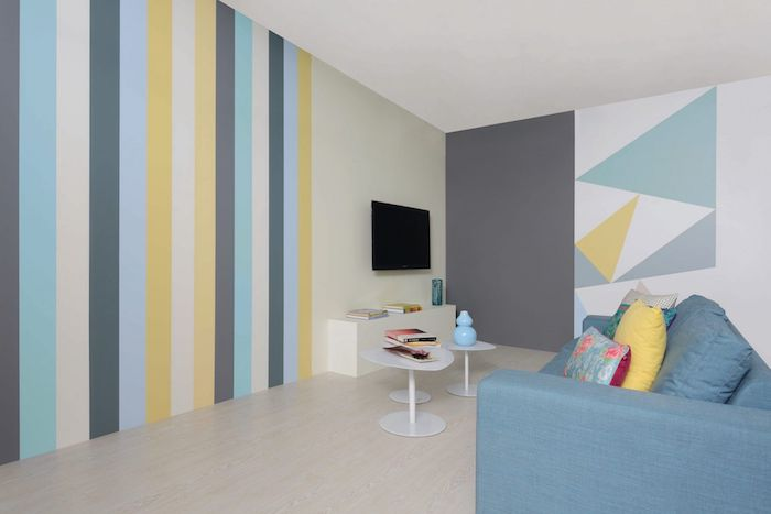 wände streiche streifen in pastellfarben kombinierenhelle möbel