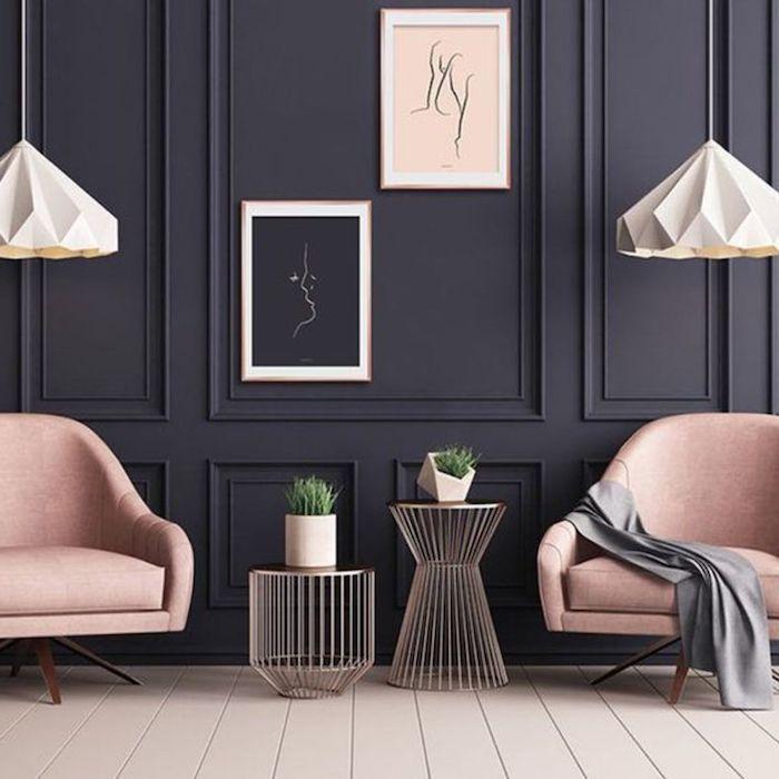 wände streichen ideen schwarz mit hellrosa kombinieren modern und gemütlich