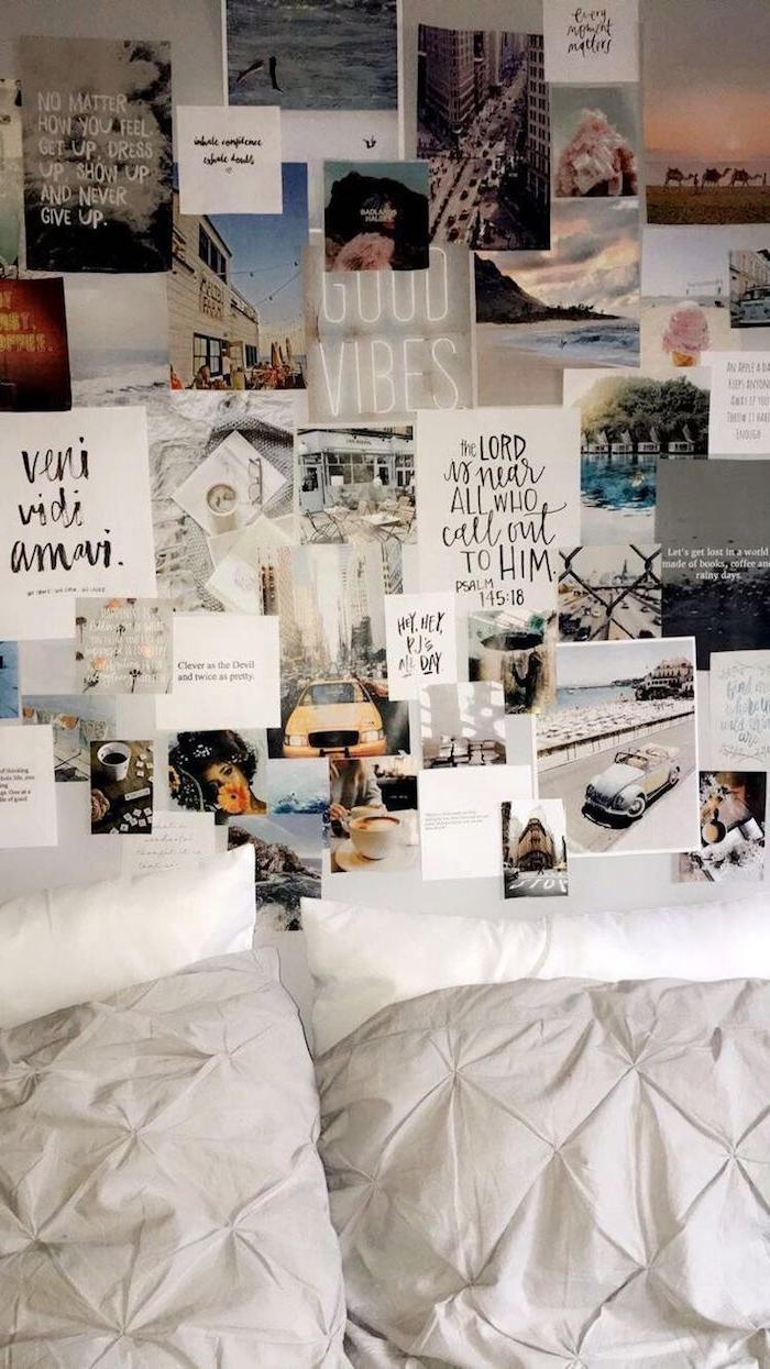 wand dekorieren mit fotos inspirierenden zitaten karten zimmer einrichten ideen tumblr schlafzimmer teenager modern dekorieren