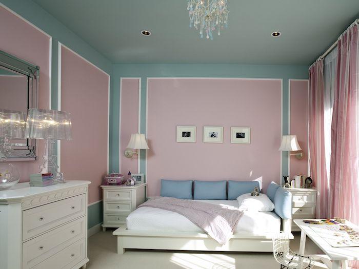 wand streichen mit rand wirkung farben kombinieren hellgrün mit sanftem rosa und weißen möbeln