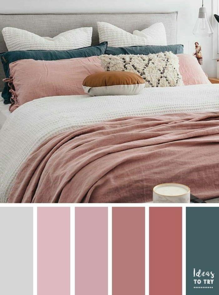 wandfarbe mauve passende farben schlafzimmergestaltung in weiß türkis und hellila