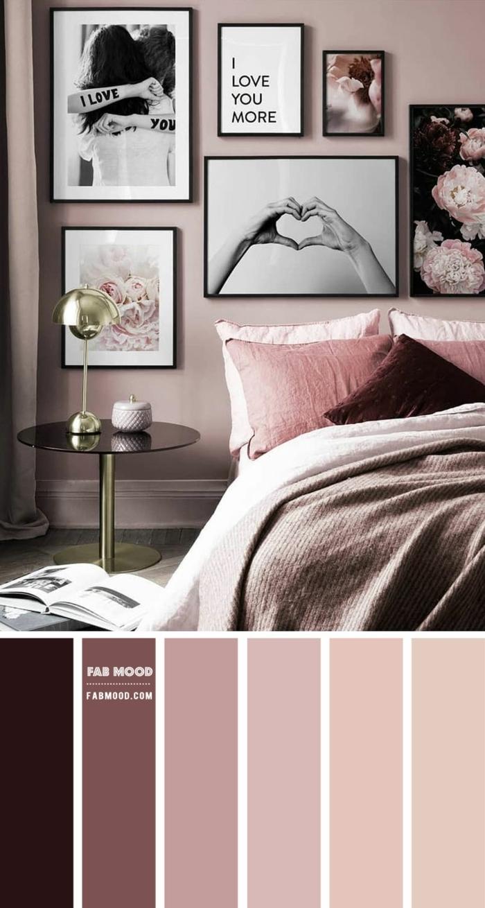 wandfarbe mauve passende farben wohnungeinrichtung ideen schlafzimmer gestalten fotos
