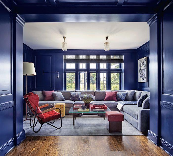 wandfarbe schöner wohnen wohnzimmer wände streichen classic blue 2020